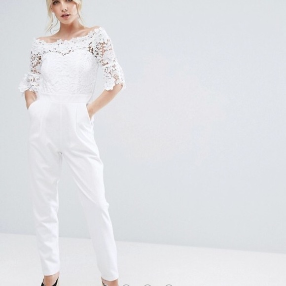 536661eec548 ASOS Dresses   Skirts - New • Paper Dolls • Petite White Lace Jumpsuit